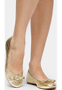 Sapatilha Couro Shoestock New Matelassê Feminina - Feminino-Dourado