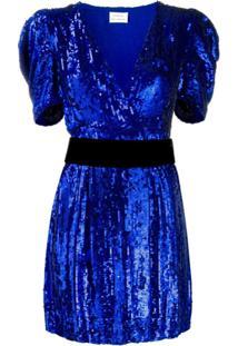 P.A.R.O.S.H. Vestido Mini Com Decote V Profundo Com Paetês - Azul