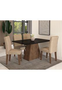 Conjunto De Mesa De Jantar Com 4 Cadeiras Estofadas Bianca Suede Preto E Bege
