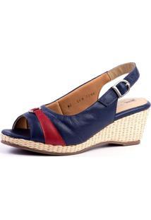 Sandália Anabela Doctor Shoes 612 Azul/Framboesa