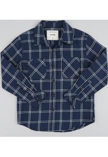 Camisa De Flanela Infantil Xadrez Manga Longa Azul Marinho