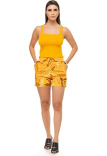 Short Pele Macia Estampado Amarelo - Tricae
