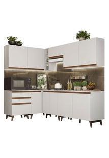 Cozinha Completa De Canto Madesa Reims 392002 Com Armário E Balcão Branco Branco
