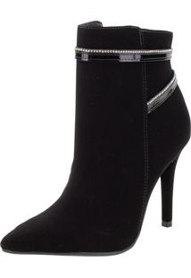 Bota Feminina Ankle Boot Via Marte - 205302 Preto/Nobuck 38