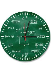 Relógio De Parede Decorativo Equações Matemáticas Verde 35Cm Médio