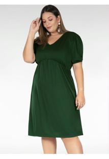 Vestido Midi Verde Mangas Bufantes Plus Size