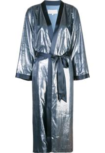 Michelle Mason Sobretudo Estilo Kimono - Azul