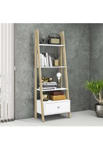 Estante Para Livros 1 Gaveta Escada Retrô Rt3091 Branco/Nature - Móvel Bento