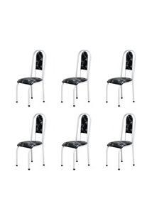 Kit 6 Cadeiras Anatômicas 0.122 Estofada Branco/Preto Floral - Marchel
