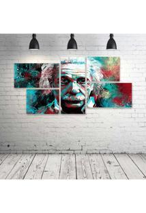 Quadro Decorativo - Albert-Einstein-Painting - Composto De 5 Quadros - Multicolorido - Dafiti