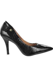 Sapato Scarpin Feminino Vizzano Verniz Croco Preto - 34