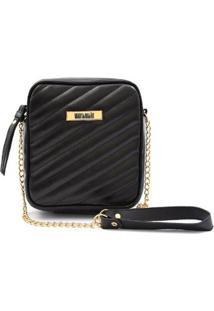 Bolsa Maria Milão Shoulder Bag Transversal Matelassê - Feminino-Preto