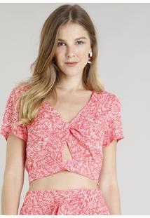 Blusa Feminina Cropped Estampada Floral Com Nó Manga Curta Decote V Coral