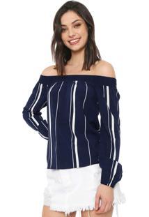 Blusa Cativa Ombro A Ombro Listrada Azul-Marinho/Branca