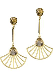Brinco Kumbayá Haste Longa E Leque Arabesco Cristal Oval Semijoia Banho De Ouro 18K Cristal Champagne