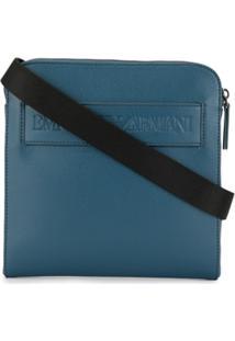 Emporio Armani Bolsa Carteiro Com Logo Gravado - Azul