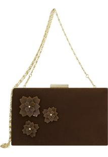 Bolsa Clutch Le Diamond Flowers Marrom