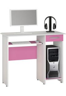 Mesa Para Computador Siena New 1 Gv Branco New E Rosa