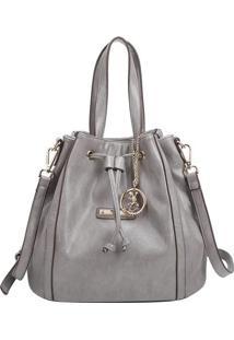 Bolsa Saco Com Recortes & Bag Charm- Cinza- 27X30X18Fellipe Krein