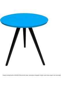 Mesa Lateral De Canto Tripé Pequena Laqueada Preta E Azul Turquesa