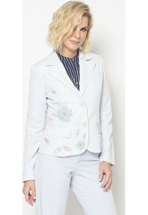 Blazer Bordado- Azul Claro & Off White- Cotton Colorcotton Colors Extra