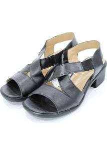 Sandália Couro Dalí Shoes Maxicomfort Feminina - Feminino-Preto