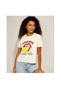 Camiseta De Banda The Rolling Stones Manga Curta Decote Redondo Off White