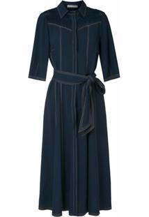 Martha Medeiros Vestido Midi Chemise Pespontado - Azul