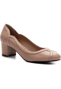 Scarpin Couro Shoestock Salto Médio Snake - Feminino-Nude