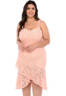 Vestido Elegance All Curves Plus Size Rosa Rendado Com Babado Tresspass