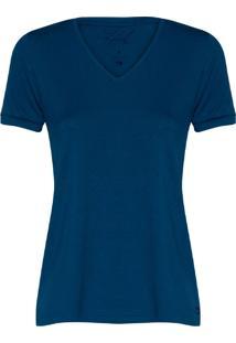 Camiseta Feminina Decote V Essencial Indigo