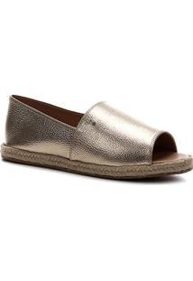 Sapatilha Couro Shoestock Confort Feminina - Feminino-Ouro