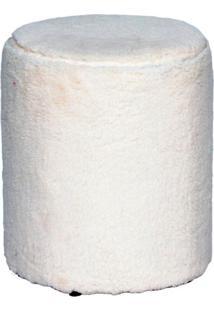 Puff Round Pelúcia Branco