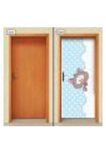 Adesivo Decorativo De Porta - Gatinho - Infantil - Azul - 2061Cnpt
