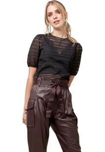 Blusa Mx Fashion Listrada Com Transparência Jane Preta - Kanui