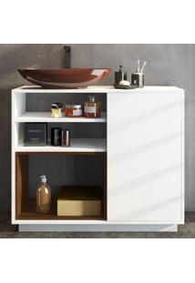 Armário De Banheiro Brisa 1 Porta Brb13_Br Branco - Estilare Móveis