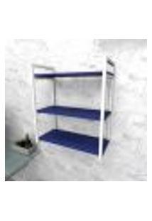 Estante Industrial Escritório Aço Cor Branco 60X30X68Cm (C)X(L)X(A) Cor Mdf Azul Modelo Ind25Azes