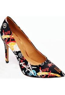 Sapato Scarpin Multicolor Casual Christian Fischer Feminino - Feminino-Preto