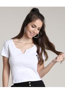 Blusa Feminina Básica Canelada Com Recorte Manga Curta Decote Redondo Branca