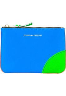 Comme Des Garçons Wallet Carteira Com Zíper Color Block - Azul
