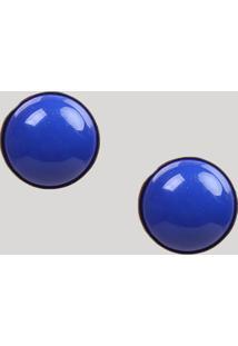 Brinco Feminino Redondo Com Pedra Azul - Único