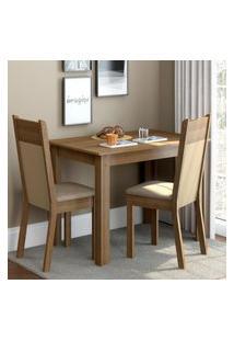 Conjunto Sala De Jantar Madesa Lola Mesa Tampo De Madeira Com 2 Cadeiras - Rustic/Crema/Pérola Marrom