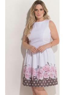 b9081c11a -48% Vestido Quintess Branco E Preto Evasê Plus Size