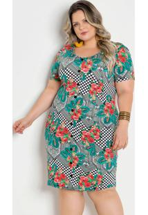 Vestido Poá E Floral Plus Size Com Botões