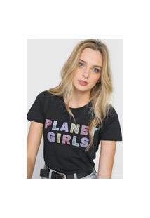 Camiseta Planet Girls Logo Glitter Preta
