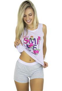 Pijama Mvb Modas Adulto Estampado Shortdoll Cinza Lilás
