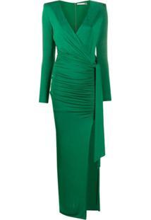 Alice+Olivia Vestido Envelope Longo Kyra Com Franzido - Verde