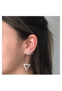 Brinco Triângulo Grande Prata 925