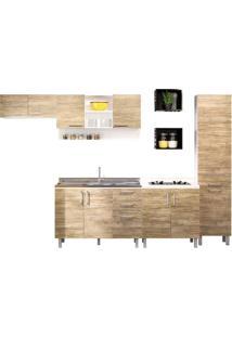 Cozinha Compacta Com 7 Peças Floripa 17-Politorno - Branco / Carvalho Claro