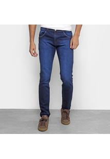 Calça Jeans Slim Coffee Lavagem Escura Masculina - Masculino-Jeans